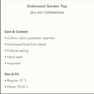 Anthropologie Sweaters - Anthropologie Moth Embossed Garden Top Sz S